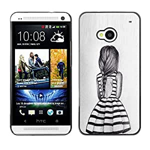 Summer Girl Dress Cola de caballo Diseño de Moda- Metal de aluminio y de plástico duro Caja del teléfono - Negro - HTC One M7