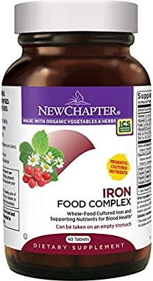 New Chapter Iron Supplement - 60ct (2 Month Supply) Iron Food Complex with Organic Whole Food Ingredients + Promotes Healthy Iron Levels + Non-Constipating + Non-GMO + Gluten Free