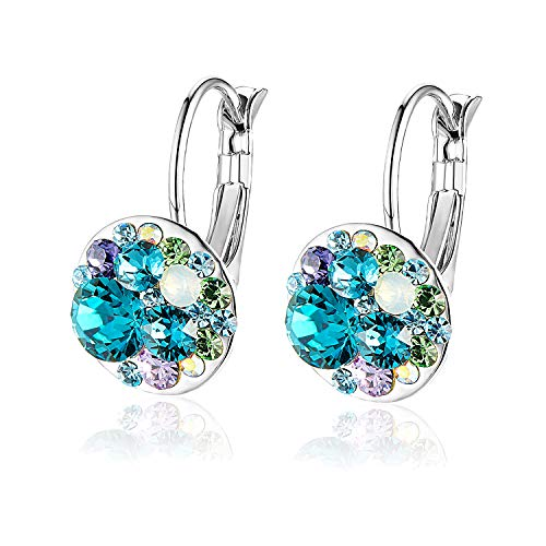 Multicolored Swarovski Crystal Earrings for Women Girls 14K Gold Plated Leverback Dangle Hoop Earrings (Blue Green Crystals/Silver-tone)