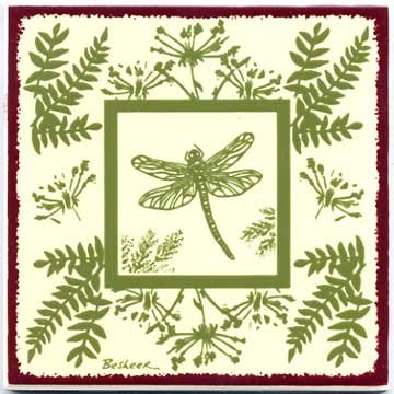 DRAGON FLY TILE, BOTANICAL WALL PLAQUE, BOTANICAL TRIVET-BB-11 ()