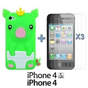 LJF phone case OnlineBestDigital - Piggy Style Soft Silicone Case for Apple iPhone 4S / Apple iPhone 4 - Green with 3 Screen Protectors