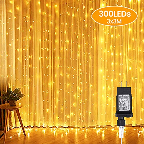 AMBOTHER Window Curtain Lights 9.8-by-9.8-feet 300 LED String Fairy Twinkle Lighting for Party Home Garden Bedroom…