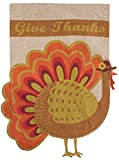 Briarwood Lane Give Thanks Turkey Burlap House Flag Thanksgiving 28″ x 40″