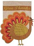 Briarwood Lane Give Thanks Turkey Burlap House Flag Thanksgiving 28
