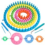 Vidillo Knitter Looms Set, 5 Size Round Knitting Looms Set Scraf Hat Maker, Plastic Round Knitting with 4 Size Pompom Maker and Knitting Needle and Hook for DIY Use