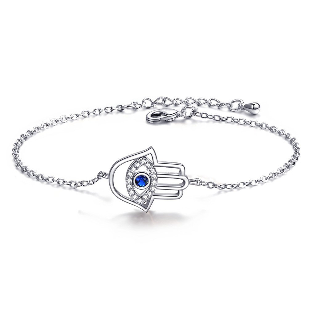 Mrsrui Shining Crystal Link Hand Chain Bracelet ''A Little Lucky'' Graduation Gifts for Her (G) by Mrsrui
