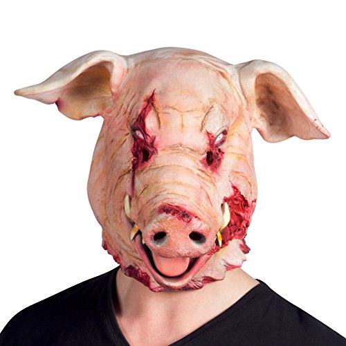 Boland Horror Pig Latex Halloween Mask Pink]()
