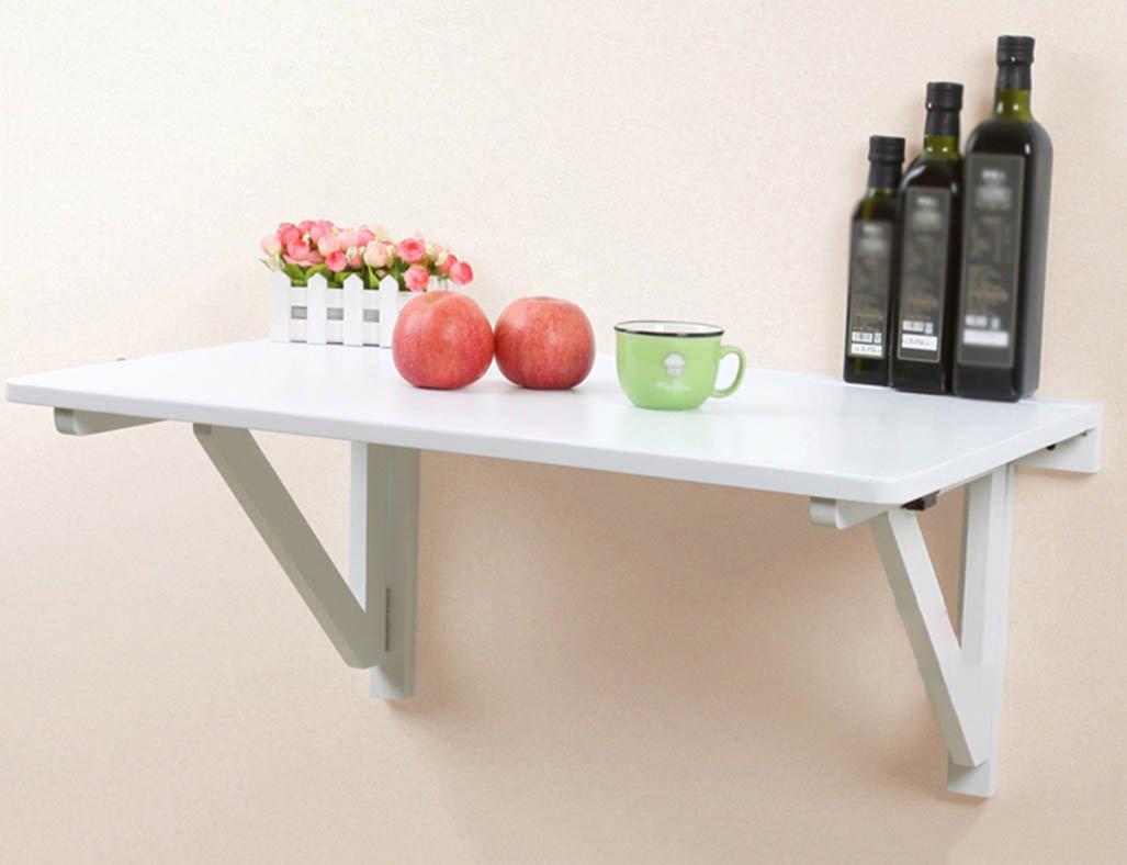 WSSFソリッドウッド折り畳み式ダイニングテーブル壁掛けダブルサポートコンピュータワーキングデスク(80 * 50 * 36cm、カラーオプション) (色 : 白) B07BXBZRQ5 白 白