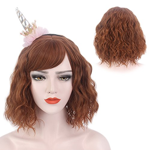 Beach Wave Wig Bangs Mid Length Curly for Women Cosplay Party Lolita Ripple Hairpiece 15