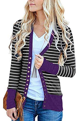 FAFOFA Women Purple Knit Outwear V Neck Snap Button Down Casual Open Front Cardigan Tops -