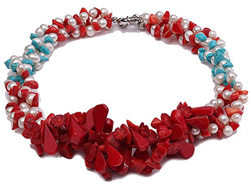 (JYX Pearl Multi Strand Necklace 6-7mm White Freshwater Pearl Necklace with Turquoise Chips and Red Coral for Women 19