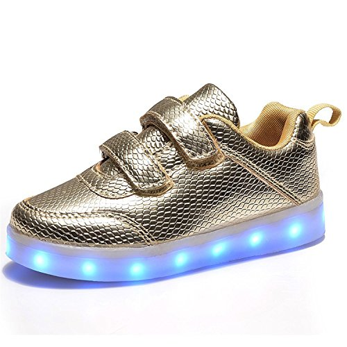Yilaiyiqu_1 Popular Multi-Color LED Light Up Shoes with USB Charging for Little Kid/Big Kid?A01? Gold11 M US Little Kid Comfortable