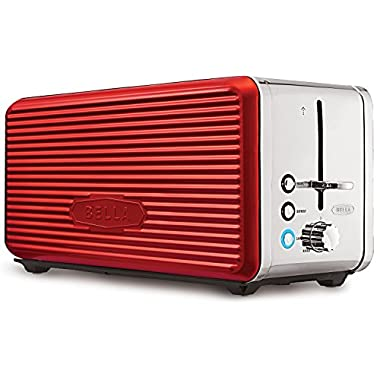BELLA LINEA 4 Slice Long Slot Toaster with Extra Wide Slot, Color Red