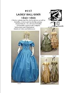 Guide to Victorian Civil War Costumes on a Budget Sewing Pattern - 1840-1863 Ladies Civil War Era Ball Gown Dress Pattern $18.95 AT vintagedancer.com
