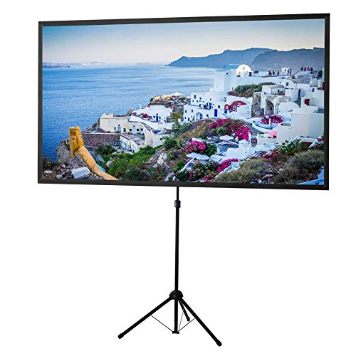 celexon 80 inch Portable, Lightweight Mobile Projector Screen with pre-Mounted Stand & Telescopic Pole Ultra-Lightweight - 69,7x39,2 inch - 16:9 - HD Premium Wrinkle-Free Tripod-Screen for Projector