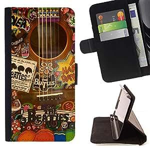 For HTC One M8 Case , Música Artista Instrumento Collage- la tarjeta de Crédito Slots PU Funda de cuero Monedero caso cubierta de piel
