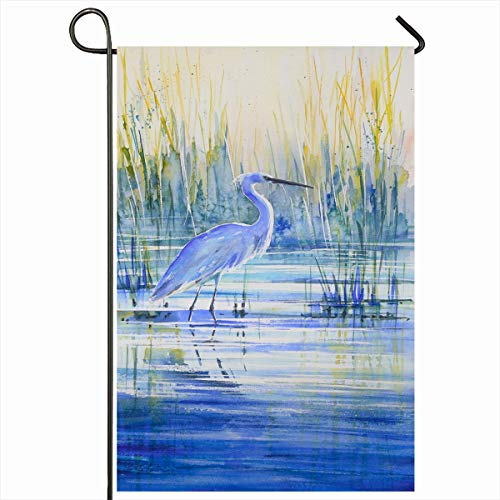 "Ahawoso Outdoor Garden Flags 12""x18"" Inch Heron Brown Artistic Blue On Lake Shore Sunset Wildlife Watercolor Bird Brushstroke Cane Colored Vertical Double Sided Home Decorative House Yard Sign"