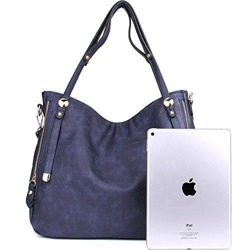 Bags Cross Handbags PU WISHESGEM Satchel Zipper Bags Leather Body Blue Women Tote Shoulder aBPwqOZP