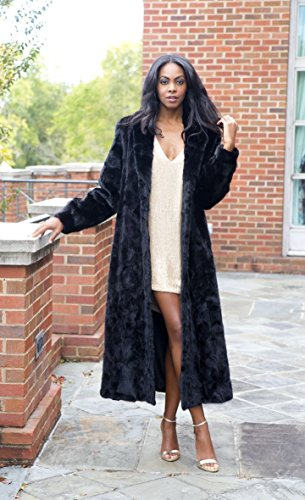 Full Length Mink Fur Coat with Shawl Collar and Bracelet Cuffs(Mahogany,XS)