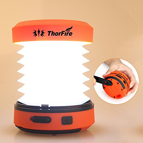Lantern Dynamo (Thorfire LED Camping Lantern Lights Hand Crank USB Rechargeable Lanterns Collapsible Mini Flashlight Emergency Torch Night Light Tent Lamp for Camping Hiking Tent Garden Patio - CL01)