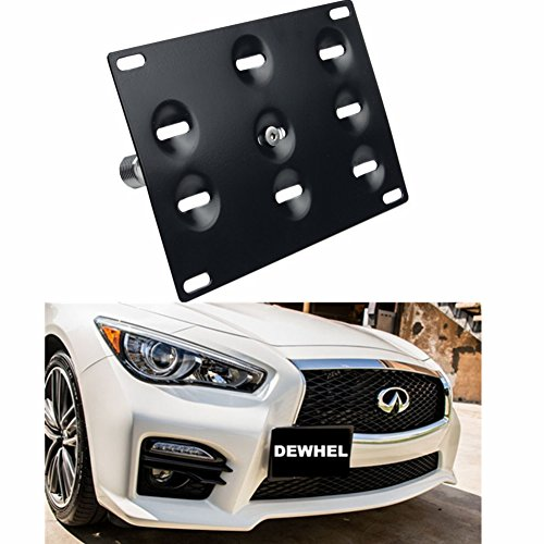 DEWHEL JDM Front Bumper Tow Hook License Plate Mount Bracket Holder Tow Hole Adapter Bolt On for 14-16 Infiniti Q50 Sedan