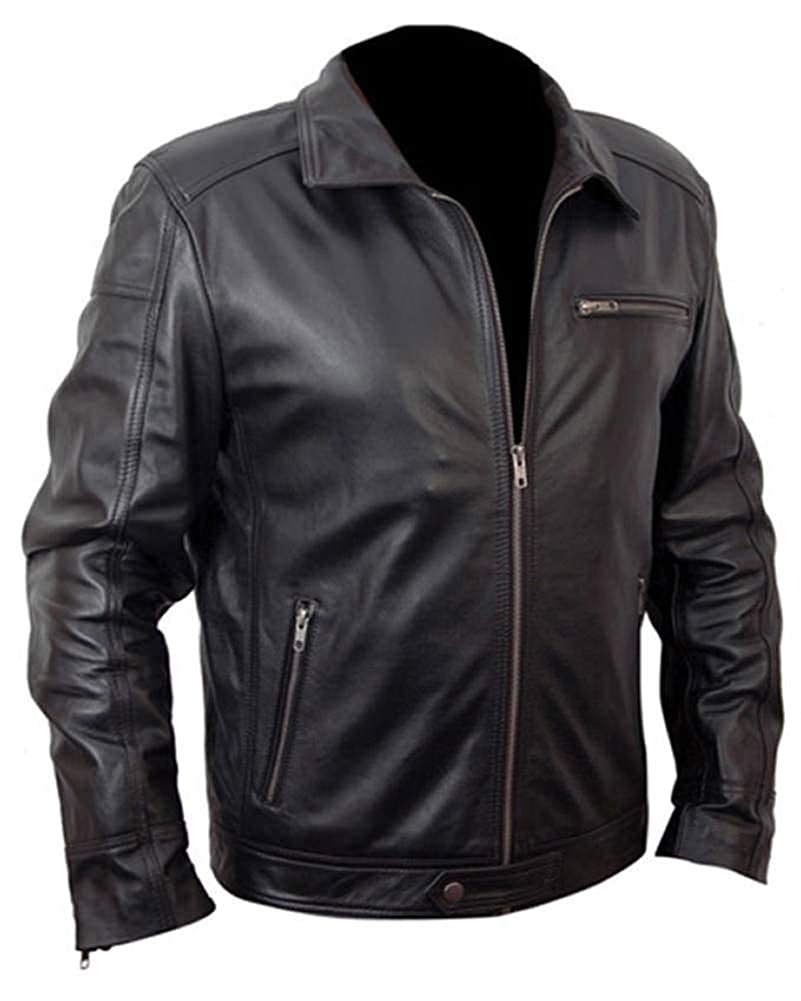 Stormwise Mens Fashion Real Leather Black Coat