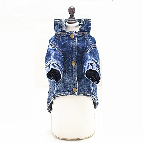 Ilistar Pet Dog Clothes Cat Blue Jean Denim Clothing Cute Puppy Coat Jacket Button Front Outfit (XXL (chest 48 cm)) by ilistar (Image #1)