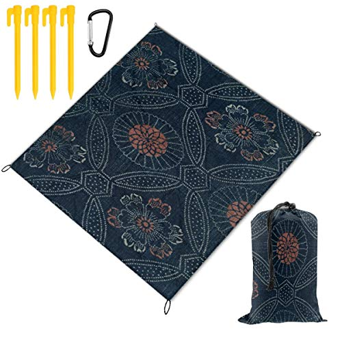- Japanese Navy Fabric Waterproof Picnic Blanket Lawn Blanket Sandproof Beach Blanket Travel Tent BBQ Mat Camping Tote Layers Portable Family Size Handy Mat 78 x 57 inch