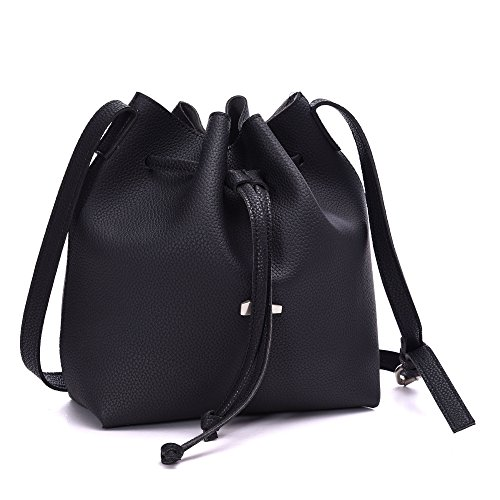 Drawstring Bucket Bags 2 Pieces Set, Artmis Women Small Cross-body Purses PU Leather(black)