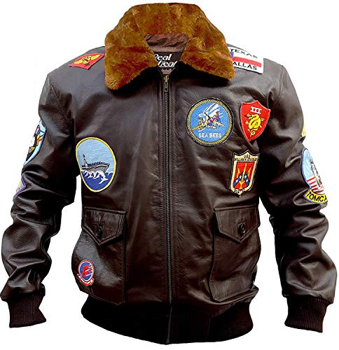 Aviator Pilot Top Gun Genuine Leather Jacket – Brown Bomber Faux Fur Leather Jacket (X-Large, Brown Top Gun Real Leather Jacket) ()