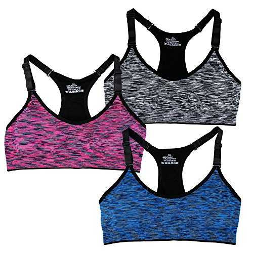 Women's Seamless Wirefree Racerback Adjustable Straps Sports Bra (M, 3 Pack A)