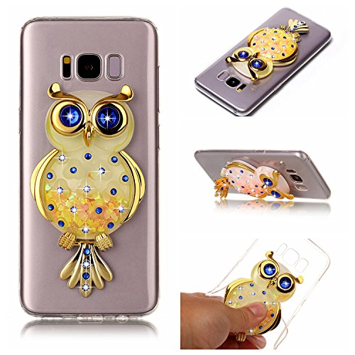 Funda Galaxy S8 Plus, Caselover 3D Bling Silicona TPU Búho Carcasas para Samsung Galaxy S8 Plus Glitter Líquido Arena Movediza Protección Caso Sparkle Brillar Cristal Tapa Case Suave Transparente Clar Búho Amarillo