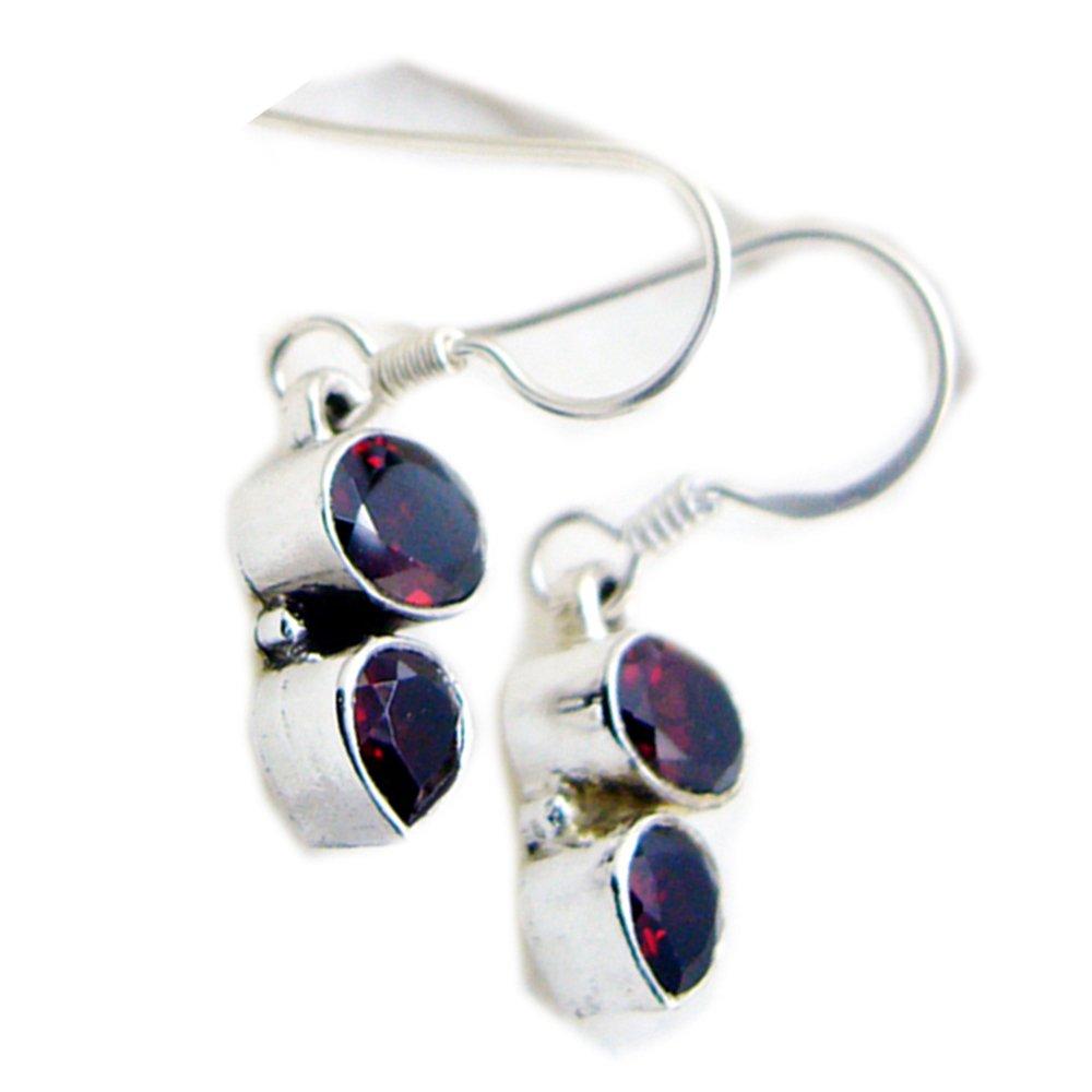 c822ee59eaaf Natural pendientes de plata granate pendientes de gota para las mujeres  moda joyas peces gancho colgantes Chakra de curación  Amazon.es  Joyería