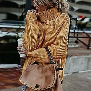 Ownsig Suéter sólido de Mujeres de Nuevo diseño para Invierno otoño de Cuello Alto Jersey de Manga Larga para Mujeres (Amarillo, M)
