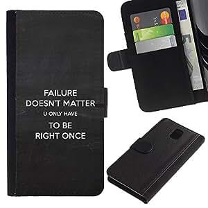 Planetar® Modelo colorido cuero carpeta tirón caso cubierta piel Holster Funda protección Para Samsung Galaxy Note 3 III ( Fracaso Sin importancia Cita inspiradora Derecho )