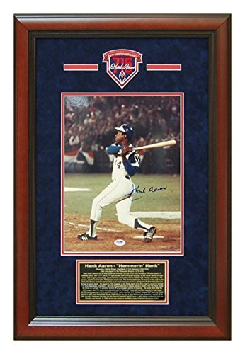 Stadium Fulton Atlanta (Hank Aaron Autographed Hand Signed Atlanta Braves 11x14 Photo Custom Framed PSA DNA Certificate)