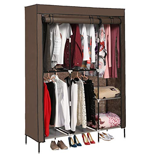 (Jaketen Portable Clothes Closet Non-Woven Fabric Wardrobe with Double Rod Shelves Freestanding Storage Organizer Wardrobe (Coffee.))