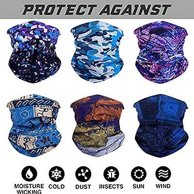6 PCS Bandana Cycling Scarf Sun UV Protection Neck Gaiter Magic Face Cover Scarf Dust Wind Bandana Balaclava Headwear at  Men's Clothing store