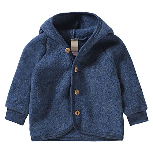 (EcoAble Apparel Baby Toddler Warm Jacket Cardigan with Hood, 100% Organic Merino Wool Fleece, Sizes NB-2T (50-56cm/0-3 months, Blue))