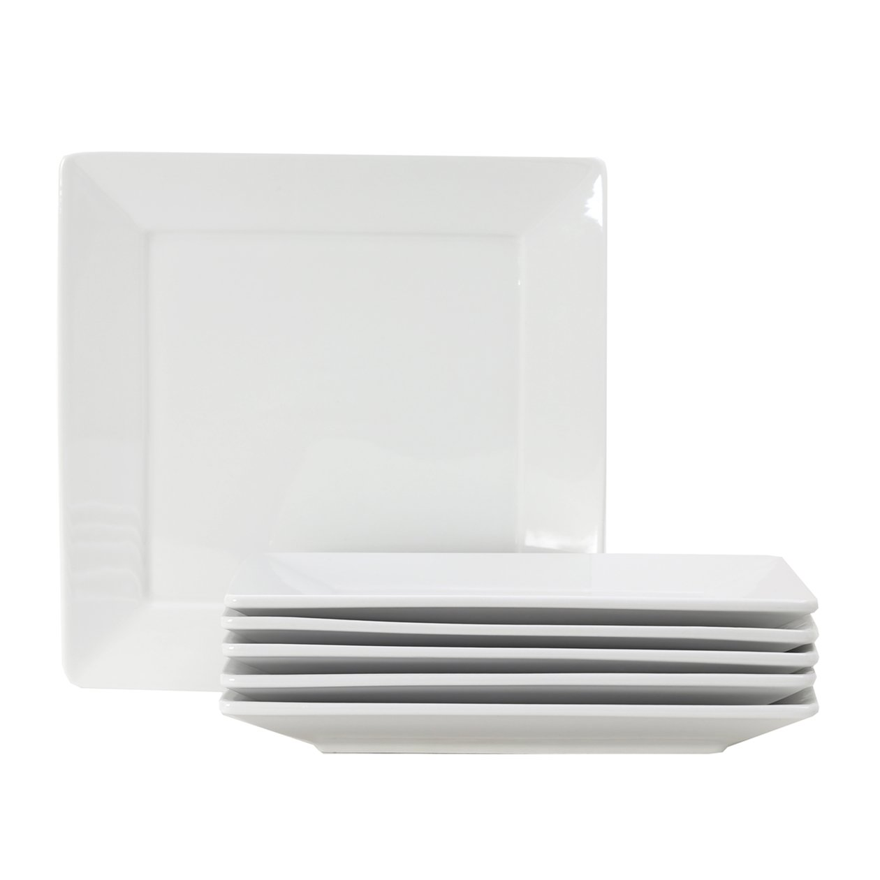 Tuxton Home Santorini Square Plate 10 1/8'' x 10 1/8'' Porcelain White - Set of 6; Commercial Grade Nonporous Virtrified China;
