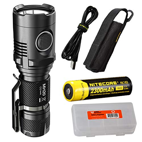 NITECORE MH20 1000 Lumen Compact USB Rechargeable LED Flashlight with Rechargeable Battery and LumenTac Battery Organizer