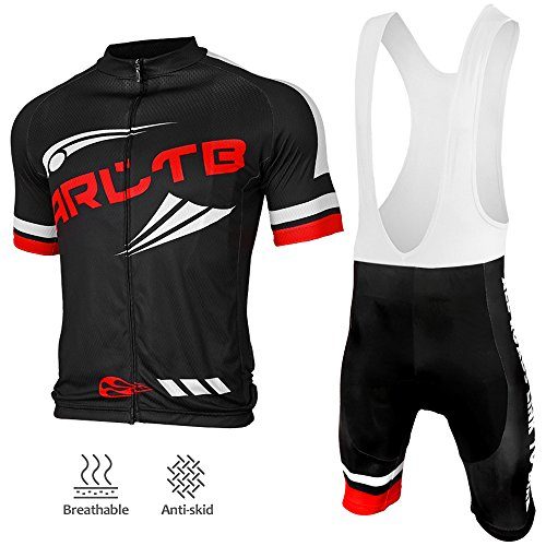 Arltb Cycling Jersey and Bib Shorts Set Bicycle Bike Short Sleeve Jersey Clothing Apparel Suit Padded Breathable Quick Dry Non Slip for Mountain Bike Road Bike MTB BMX Racing Outdoor ()