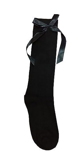 Islander Fashions Chicas Calcetines hasta la rodilla con lazo Ni os Calcetines ocasionales de uso escolar Calcetines de algod n Calcetines negros Arco ...