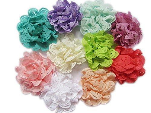 "YYCRAFT 20 Mix Eyelet Flower 3.5"" Hair Flower Headband Baby Flowers Bows"