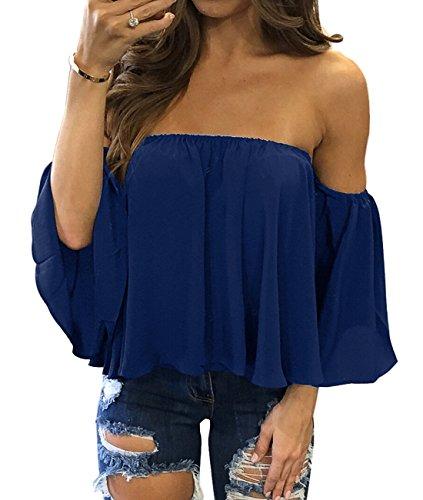 Sexy Blue Off Shoulder - Mesitelin Women Chiffon Off Shoulder Blouse Top Shirt Short Sleeve Boho Casual Blouse T Shirt(L,Blue)