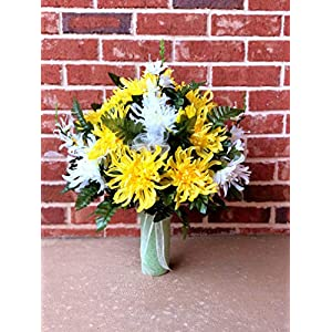 Cemetery Vase Arrangement ~ Beautiful Yellow and Ivory Mum Flowers Mixture Cemetery Flowers for a 3 Inch Vase 80