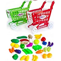 Siddhi Vinayak Shopping Cart Pretend Playset Toys with Fruits and Vegetables for Kids (Set of 36 Pcs) - Small Size