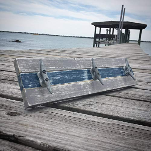 Nautical Boat Cleat Towel Rack, Distressed Gray and Blue ()