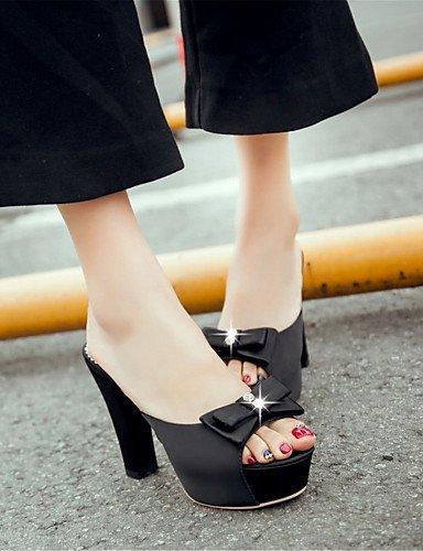 LFNLYX Zapatos de mujer-Tacón Robusto-Tacones-Sandalias-Boda / Vestido / Casual / Fiesta y Noche-Vellón-Negro / Azul / Rojo Red