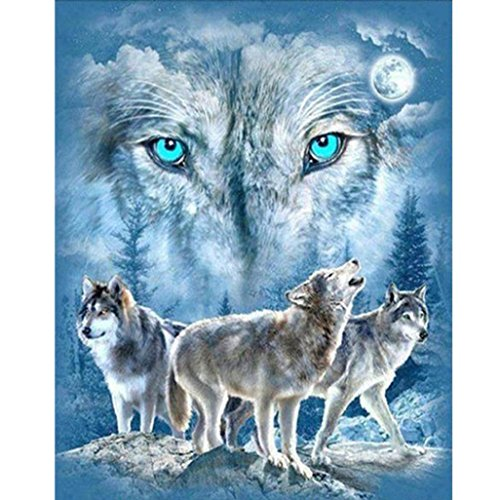 Franterd 25x30cm Lovely Animal Wolf - DIY 5D Diamond Painting By Number Kits - Paint with Diamonds Cross Stitch - Embroidery Crystal Rhinestone Pasted Drilled Arts Craft for Home -